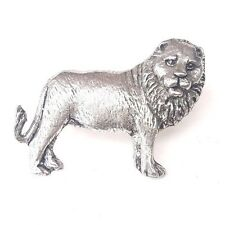 Lion / Jungle King Finely Handcrafted in Solid Pewter in Uk Lapel Pin Badge Ss04