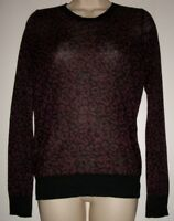 Ann Taylor LOFT Women's Small Black/Burgundy Thin Long Sleeve Top NWT