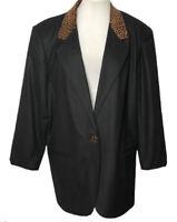 Womens Sag Harbor Black Wool Blazer Jacket Leopard Animal Print Lapel Size 20