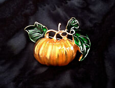 ORANGE PUMPKIN PIN BROOCH~HALLOWEEN WITCH COSTUME ACCESSORY~GIFT FOR HER WOMEN