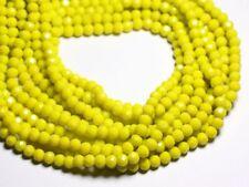 Fil 39cm 90pc env - Perles Verre opaque - Rondelles Facettées 6x5mm Jaune - 4558