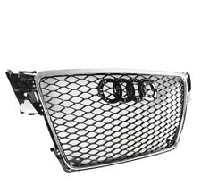 BLACK/CHROME TRIM FRONT MESH RS4 STYLE HEX GRILLE FOR 2009-2012 AUDI A4/S4 B8 8T
