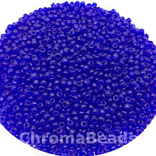 50g glass seed beads - Deep Blue Transparent - approx 3mm (size 8/0)