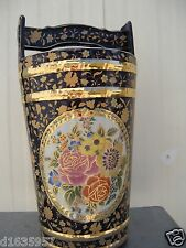 China Jingdezhen Blue glazed base with gold drawing-flowers stripes bucket