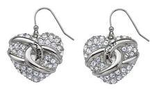 GUESS ube71243 Coeur Boucles d'oreille en acier inoxydable argenté avec strass pierre NEUF