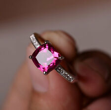 1.5 Ct Cushion Halo Sapphire Pink Engagement Ring 14K White Gold Over Solitaire