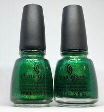 China Glaze Nail Polish RUNNING IN CIRCLES 1198 Vibrant Bright Emerald Green Lac