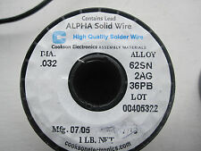 "Alpha Metals Solid Wire Solder: Sn62 Pb36 Ag02  .032""  1-Lb Spool  FREE SHIPPING"