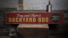 Backyard BBQ, Custom Barbecue, Grill - Rustic Distressed Wood Sign