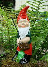 Albert - Fishing Garden Gnome - Handmade at Pixieland (Concrete)