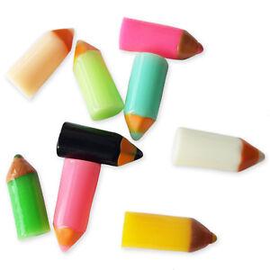 6pcs Assorted Mini Pencil Charms Kawaii Resin Embellishment Decoden Craft