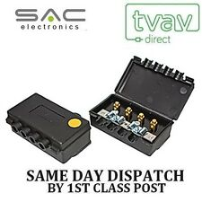SAC 3 VIE TV OUTDOOR ANTENNA SPLITTER Freeview (CON PASSAGGIO CC) GIALLO a1053