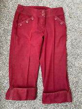 Robert Louis Women Red Cropped Stretch Pants Size 6 Cute Front Buttons