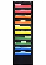 Organizer File Chart Paper Black, 10 pocket, Double Stitched For Door or Wall