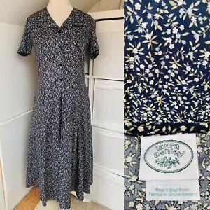 Laura Ashley Navy Blue Floral Midi Tea Dress Size 12 True Vintage Made In GB