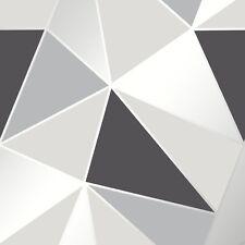 Black and Silver Wallpaper Geometric Pattern Apex by Fine Decor FD41994