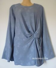 M&S LIMITED EDITION Blue Jacquard Print Knotted Long Sleeve Blouse size 14