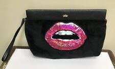 Juicy Couture Black Velvet Velour Sexy Lips Clutch Purse Hand Bag Wristlet