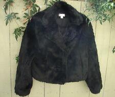 Ann Taylor Loft Black Faux Fur Beaver Jacket Size 4