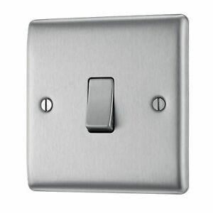 BG Nexus NBS13 Brushed Steel / Satin Chrome INTERMEDIATE Light Switch 10amp