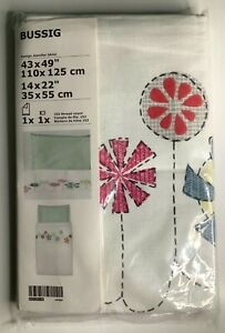 "New IKEA BUSSIG Crib duvet cover/pillowcase, multi color, green 43x49"" / 14x22 """