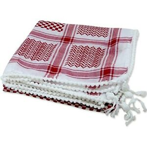 Red and White Checkered Middle East Keffiyeh Palestinian Islamic Head Scarf
