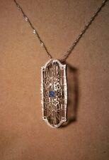 Brooch Pin/Pendant Art Deco w/18K Chain Vintage Solid 14K White Gold W/ Sapphire