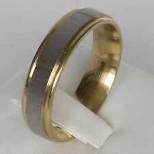 6mm Gold Silver Black Plated Steel Mens Wedding Ring Womens Band (Sizes M to X)