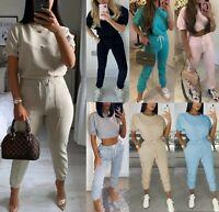 Women's Ladies Cuffed Short Sleeve Boxy Top Bottom Suit Loungewear Tracksuit Set