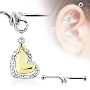 Piercing Industrial Pendant Heart Golden and Rhinestones