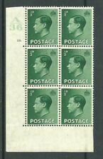 1936, Sg457, P1 + b, ½d Green, A36 / 10 dot, Mm, (02800)