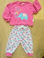 Jojo Maman Bebe 6-12 Month girl pink white appliqué elephant pjs pyjamas set