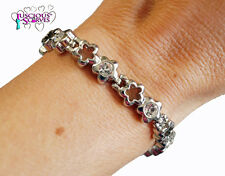 LADIES SUPER STRONG MAGNETIC SILVER  ALLOY HEALING BRACELET CLEAR COLOURED STONE