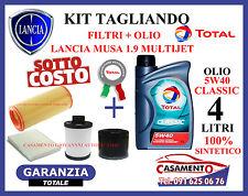 KIT TAGLIANDO LANCIA MUSA 1.9 MULTIJET FILTRI + OLIO TOTAL 5W40 SINTETICO