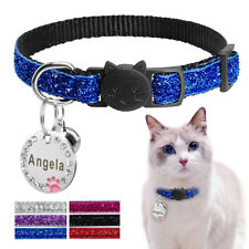 Bling Sequins Breakaway Dog Cat Collar Round Engraved Tag & Quick Release Buckle