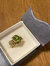 GORGEOUS VINTAGE 10KT YELLOW GOLD 3 CTW OVAL PERIDOT RING Sz 7-REPAIR 5.2Gr