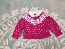 Baby Gap Pink Fair Isle Faux Fur Collar Zip Jacket Sweater 6 12 Months EUC