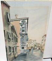VENICE CANAL SCENE SMALL ORIGINAL WATERCOLOR PAINTING UNSIGNED