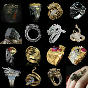 Men Gold Dragon Rings Hip Hop Party Fashion Punk Ring Jewelry Gift Size 6-13