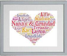 Personalised Heart Word Art Grandparent Gift Christmas Birthday **Print Only**