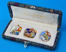 Vintage Chinese China 1970's Set 3 Peking Jewelry Enameled Cloisonne Pendant 1