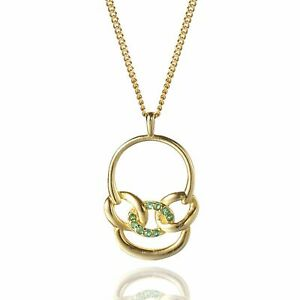 PERIMADE 18K Gold Plated Sterling Silver Linked Circle Green Cubic Zirconia Pend