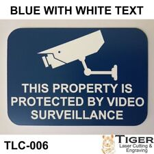 SECURITY CCTV WARNING SIGN - VIDEO SURVEILLANCE SIGN 10CM X 7CM - BLUE/WHITE