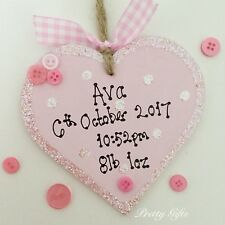 Personalised New Baby Boy Girl Heart Keepsake Gift Handmade Birth Announcement