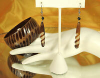 KENYA Africa COW HORN SET Bangle Bracelet Dangle Earrings ARTISAN Handmade FAB!