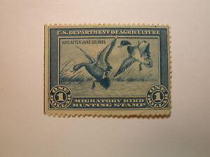 U.S. Stamp Scott #RW1 US Department of Agriculture $1 Migratory Bird Hunting ...