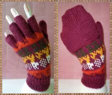 LOT 50 PAIRS CONVERTIBLE MITTENS-FINGERLESS GLOVES ALPACA WOOL KNITTED PERU ART