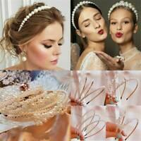 Ladies White Pearl Beads Headband Hairband Hoop Bridal Wedding Headwear Jewelry