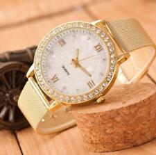 Women Ladies Gold Classy Crystal Roman Numerals Chic Mesh Band Wrist Watch Gift