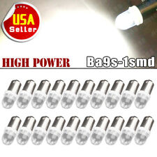 20x Pure White BA9S LED Interior Instrument Panel Dashboard Dome Map Light Bulbs